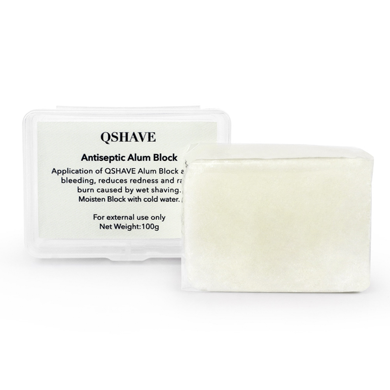QSHAVE It Large Alum Block In Storage Case Soothing Aftershave Astringent To Close Pores Helps Stop Bleeding From Nicks And Cuts