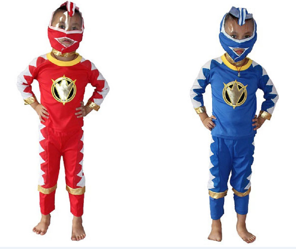 Boy Rangers Costume Kids Halloween Costume Bakuryu Sentai Abaranger Costume Cosplay Blue+Red S-XXL