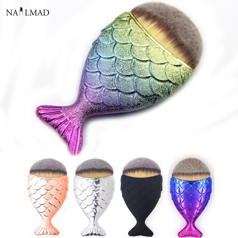 1pc Mermaid Foundation Brush Fish Scale Makeup Brushes Professional Foundation Powder Blush Brush Contour Fishtail Cosmetic Brus