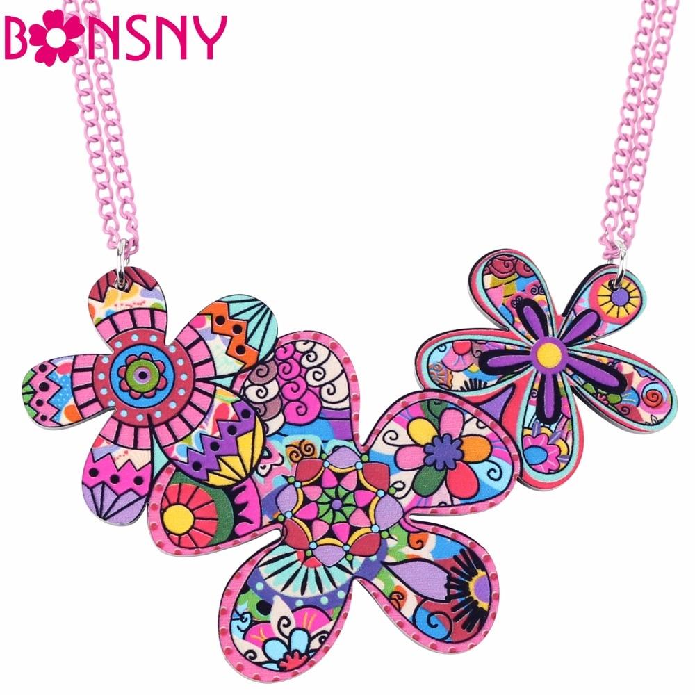 Bonsny blomst halskæde vedhæng akryl mønster hot 2017 nyhed erklæring smykker til kvinder pige choker krave charme dekoration