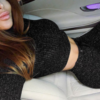 2 Pieces Glitter Knitted long sleeve top 2019 Spring Women Sport Suit Knit Reflective legging pants Sexy Tracksuit women clothes