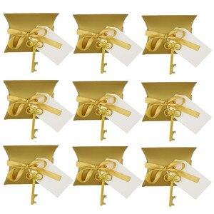Image 5 - Abridor de garrafa chave de ouro 50 pçs/set, doce caixa de doces casamento esqueleto para festa decoração rústica enviar um pequeno presente para um convidado