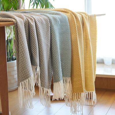 130X200 CM décoration de la maison Style nordique décontracté couvertures tricotées avec gland gris jeter couverture pour canapé-lit couverture Plaid couvre-lit