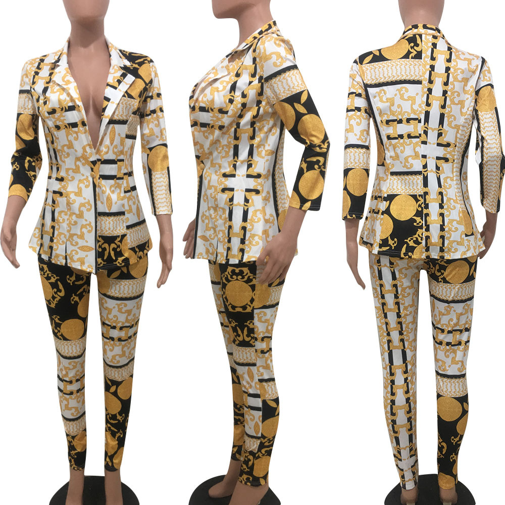 Mode Gold Druck Frauen Zwei Stück Set Drehen Unten Kragen 3//4 Hülse Einzigen Taste Strickjacke Mantel Bleistift Hosen Business Anzug outfit