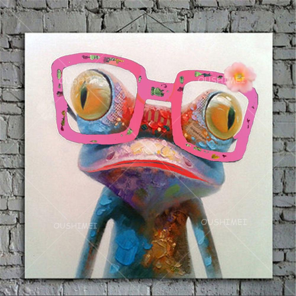 Rajzfilm állat absztrakt olajfestmény Béka szemüveget visel - Lakberendezés - Fénykép 2