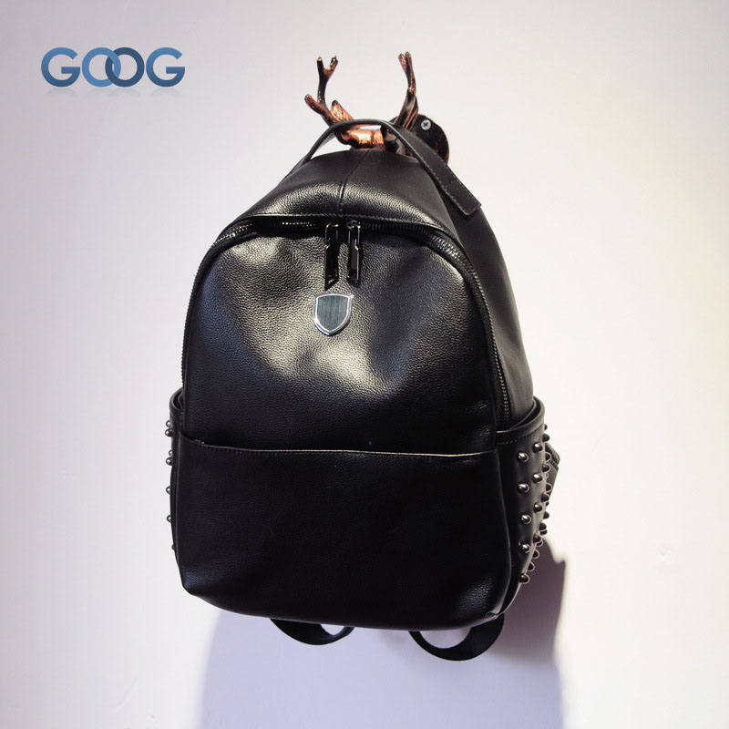 New Korean version of the rivet head layer of leather backpack fashion travel leather  large capacity tide package smc the new head of passing filter aff150a 40