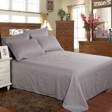 Качественное серое хлопковое домашнее атласное постельное белье с полосками, двойной/Полный/queen/King Размер, простыня, наволочка, комплект, постельные покрывала, сплошной цвет
