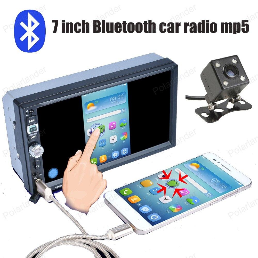 7 дюймов Bluetooth Сенсорный экран автомагнитолы AUX в USB TF MP5 телефона Android Дублирование экрана 9 языков стерео с сзади камера