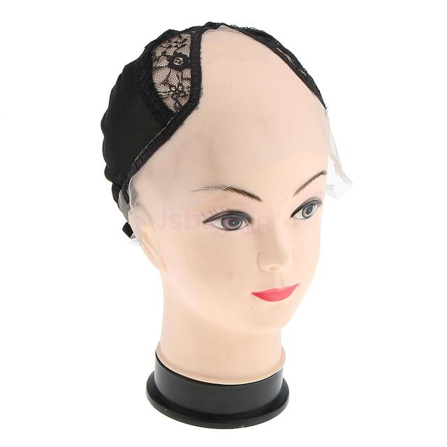 Breathable Adjustable Straps Lace Wig Cap Wigs Making Weave Accessories Mesh  Snood Net for Women Men Short Long Hair Black c960ae132