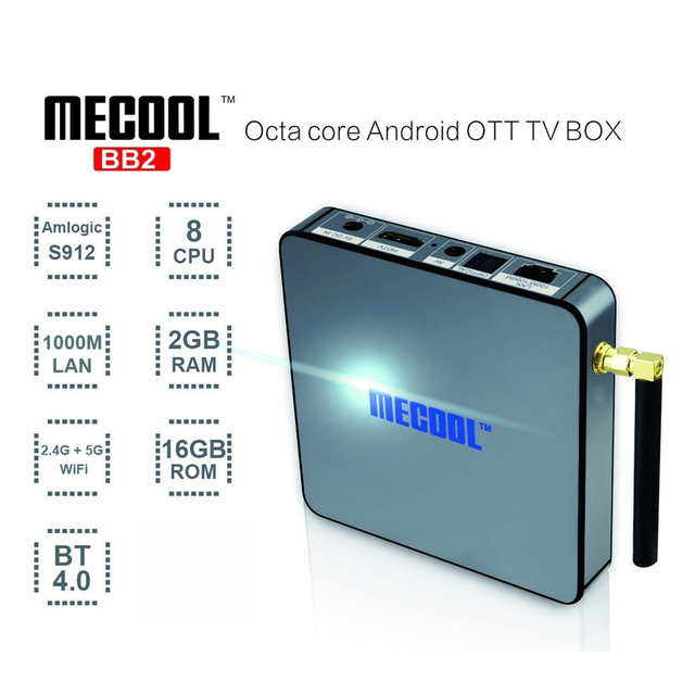 MECOOL BB2 Android TV Box 2G 16G Octa Core 4 K H.265 Amlogic S912 decodificación 2.4G + 5G de Doble Banda WiFi BT TV BOX Reproductor Smart Box