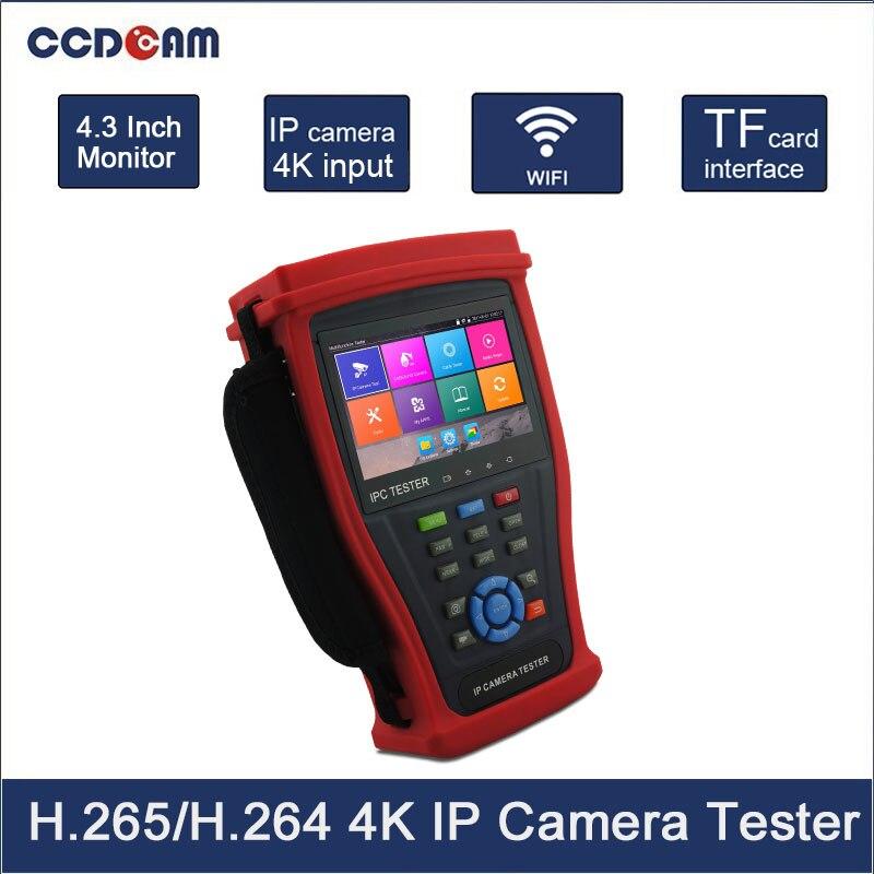 4.3 inch H.265 4K IP camera tester Analog CVBS CCTV tester with TDR cable test AHD CVI TVI SDI HDMI Optional free shipping ipc 4300mt 4 3 onvif ip analog camera tester poe hdmi multimeter tdr cable test