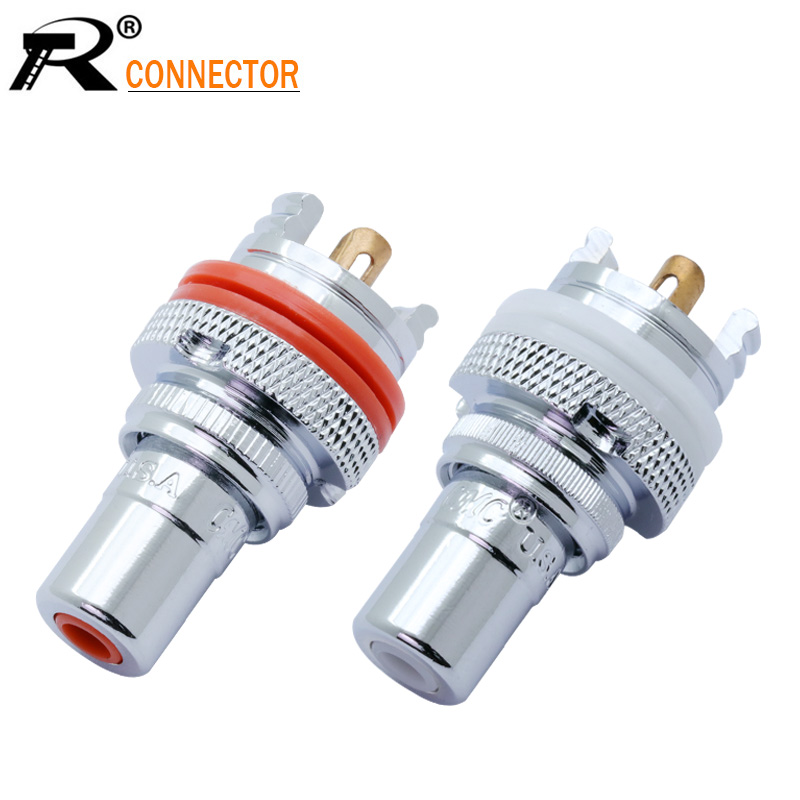 2Pcs/1Pair Silver Plated RCA Jack Terminals Pom Insulation High-end RCA Socket Adapter AV Terminal Phono Connector