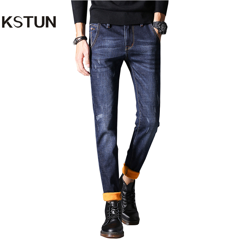 KSTUN Mens Winter Jeans Skinny Solid Blue Denim Pencil Pants Stretch Jean Men's Heat Insulated Warm Casual Male Trousers Homme 2017 autumn new fashion pencil mens skinny jeans trousers stretch jean homme mid waist denim pants men casual jeans hommes
