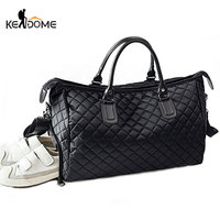 Diamond Lattice Gym Shoe Bags Sport Bag for Women Fitness Over the Shoulder Travel Luggage Bag Handbags Male Nylon Black XA745WD