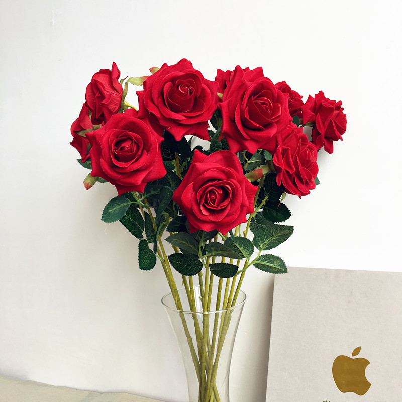 Christmas Wedding Bouquets And Flowers: Artificial Rose DIY Fake Flowers Bridal Bouquet Wedding