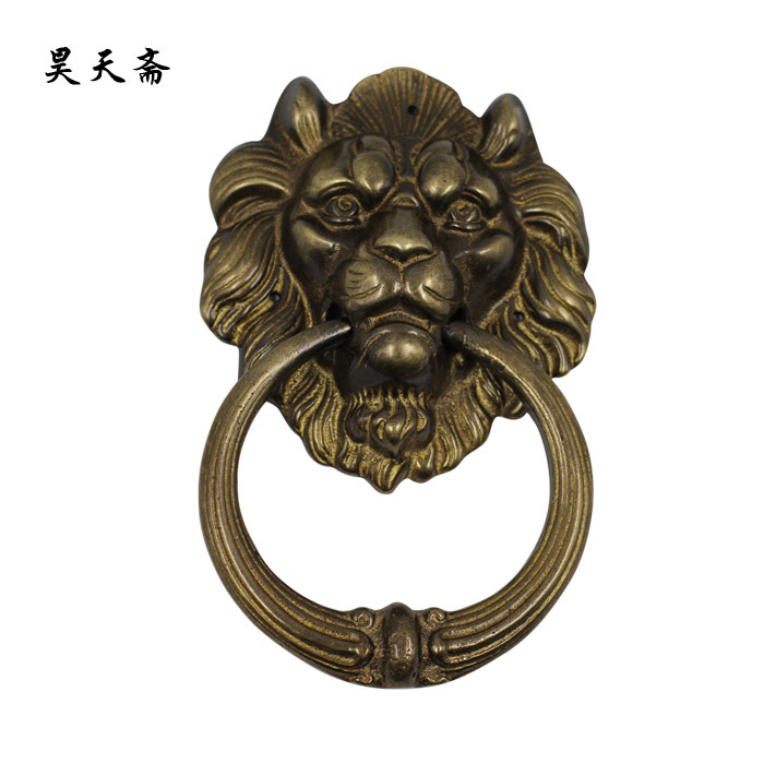 [Haotian vegetarian] accessories antique bronze bronze copper beast lion head door knocker handle HTA-001 цена 2017