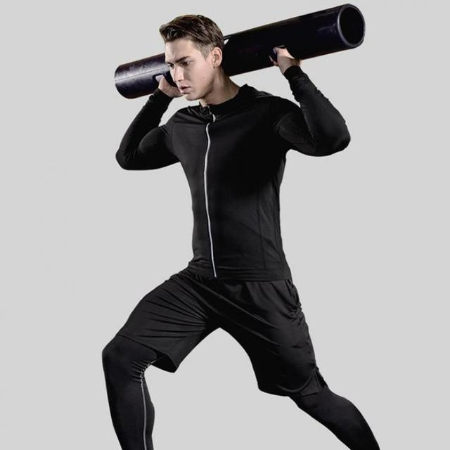 Men's Compression Sportswear Suits Gym Tights Training Clothes Workout Jogging Sports Set Running Tracksuit Quick Dry Plus Size 5