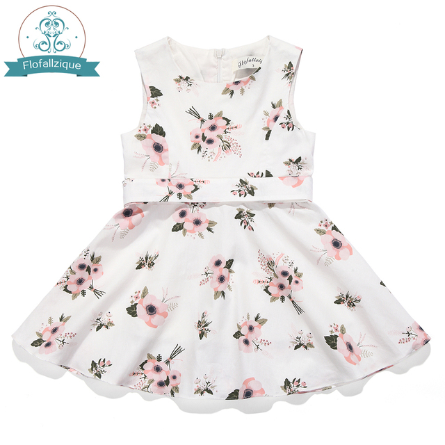 7a3ffafd2d05f US $13.99 | Flower Girls Dress Summer Sleeveless Holiday Party Princess  Costume Vintage Floral Print Kids Dresses for Girls Toddler Clothes-in  Dresses ...