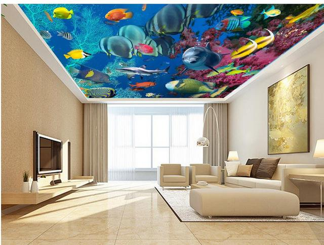 Modern Living Room Murals aliexpress : buy beautiful underwater world of fish ceiling 3d