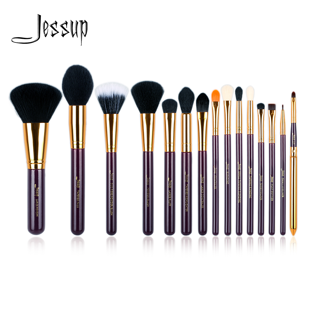 Jessup Pro 15pcs Makeup Brushes Set Powder Foundation Eyeshadow Eyeliner Lip Brush Tool Purple and Gold Cosmetics tools free shipping 3 pp eyeliner liquid empty pipe pointed thin liquid eyeliner colour makeup tools lfrosted purple