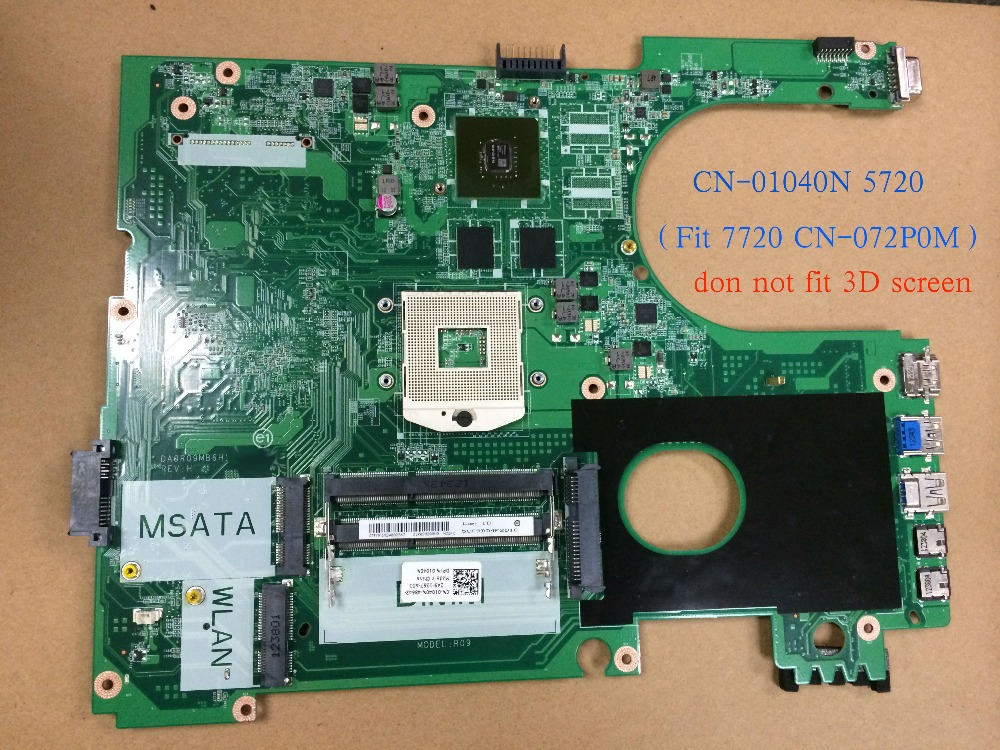 Almost New 01040N DA0R09MB6H1 REV : H For Dell INSPIRON 5720 Motherboard Fit For Dell INSPIRON 7720 072P0M mainboard крепление для жк дисплея ноутбука dell inspiron 17r 5720 7720 r