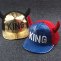 The new children's horns KING letters spell color leather hat Hip-hop baseball cap