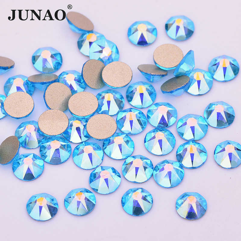 JUNAO 8 גדול + 8 פן קטן SS20 ורוד AB זכוכית ריינסטון Flatback עגול קריסטל אבן נייל אמנות קישוט ללא תיקונים Strass