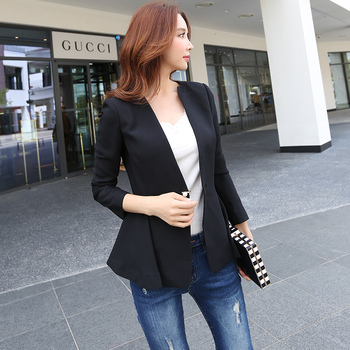 2017 Brand Small Coat Female Handsome Casual Long Sleeve Solid Black Spring Autumn Blazer Women Wholesale jeans con blazer mujer