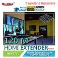 (1 Sender and 8 Receivers) 1080p 120m UTP/STP HDMI Extender Over IP/TCP CAT5e/6 Rj45 LAN Work Like HDMI Splitter (1 TX 8 RX)