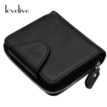 LEVELIVE Mens Genuine Leather Hasp Zipper Wallets Men Real Cowhide Wallet Coin Pocket Card Holder Male Purse Carteira Masculina