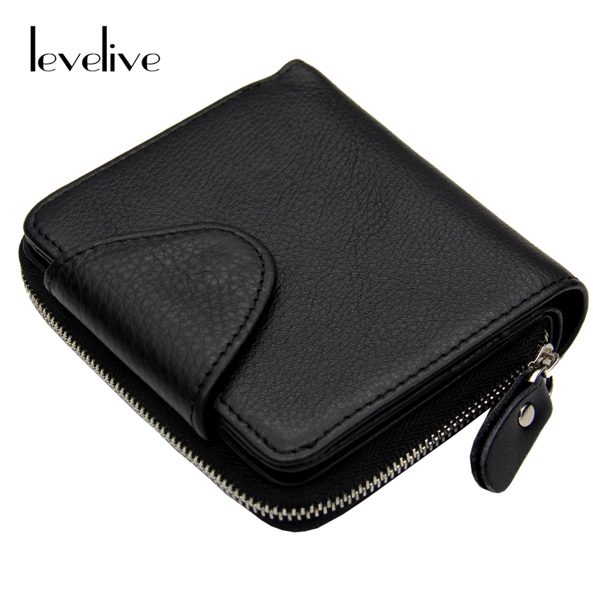 LEVELIVE Mens Genuine Leather Hasp Zippes