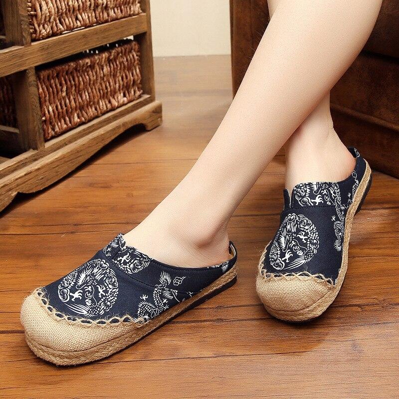Zhenzhou Bestickt Schuhe Original Nationalen Wind Flachs Schuhe Runde Kopf Hand-made Baumwolle Und Hanf Genäht Lovers Schuhe