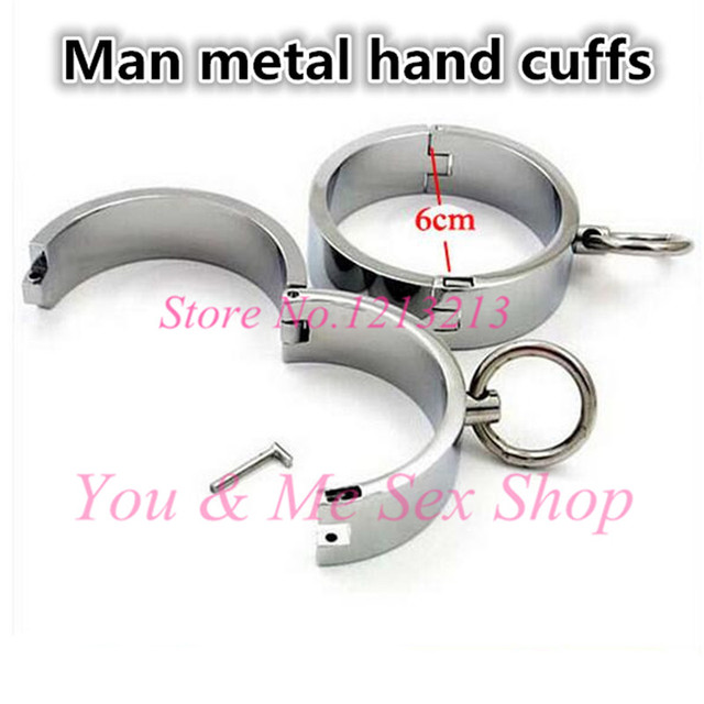2016 High quality male Hand Cuffs with Brass Lock sex furniture algema adult games styling tools slave stainless steel sex toys