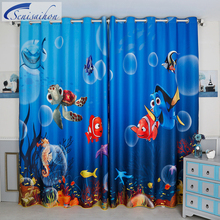 Korean 3d Blackout Curtains Goldfish Turtle Animals Underwater World Pattern Thickened Fabric Children Curtains for Living