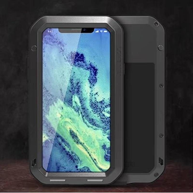 LOVEMEI Luxe Dirt-résistant Anti-frapper En Métal Cas de Couverture En Aluminium avec Verre Gorilla pour l'iphone X Heavy Duty Protection Cas