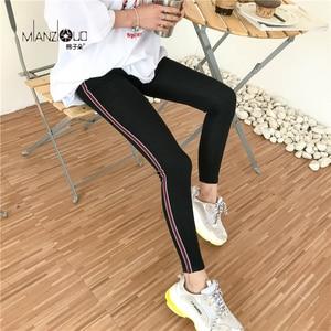 Image 3 - 2019 nowych moda damska wiosną i jesienią wysokiej elastyczności i dobrej jakości Slim Fitness Capris Streetwear legginsy spodnie bawełniane