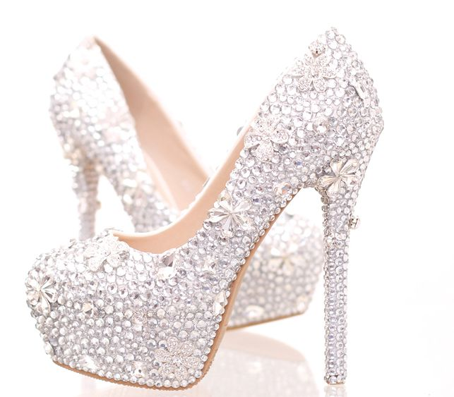 ФОТО Round toes platforms pumps shoes for woman silver crystal rhinestones ladies heeled wedding shoes TG845 womens lady party pump