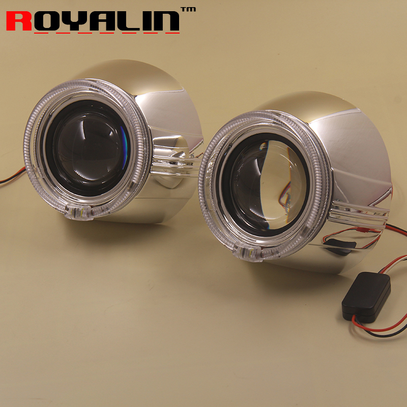 Car Styling H1 Mini Bixenon HID Projector Lens LED COB Angel Eyes Rings w/ Shrouds 3'' for SMax Auto Lamp H4 H7 DRL Retrofit DIY brand new superb led cob angel eyes hid lamp projector lens foglights for toyota corolla ex 2013