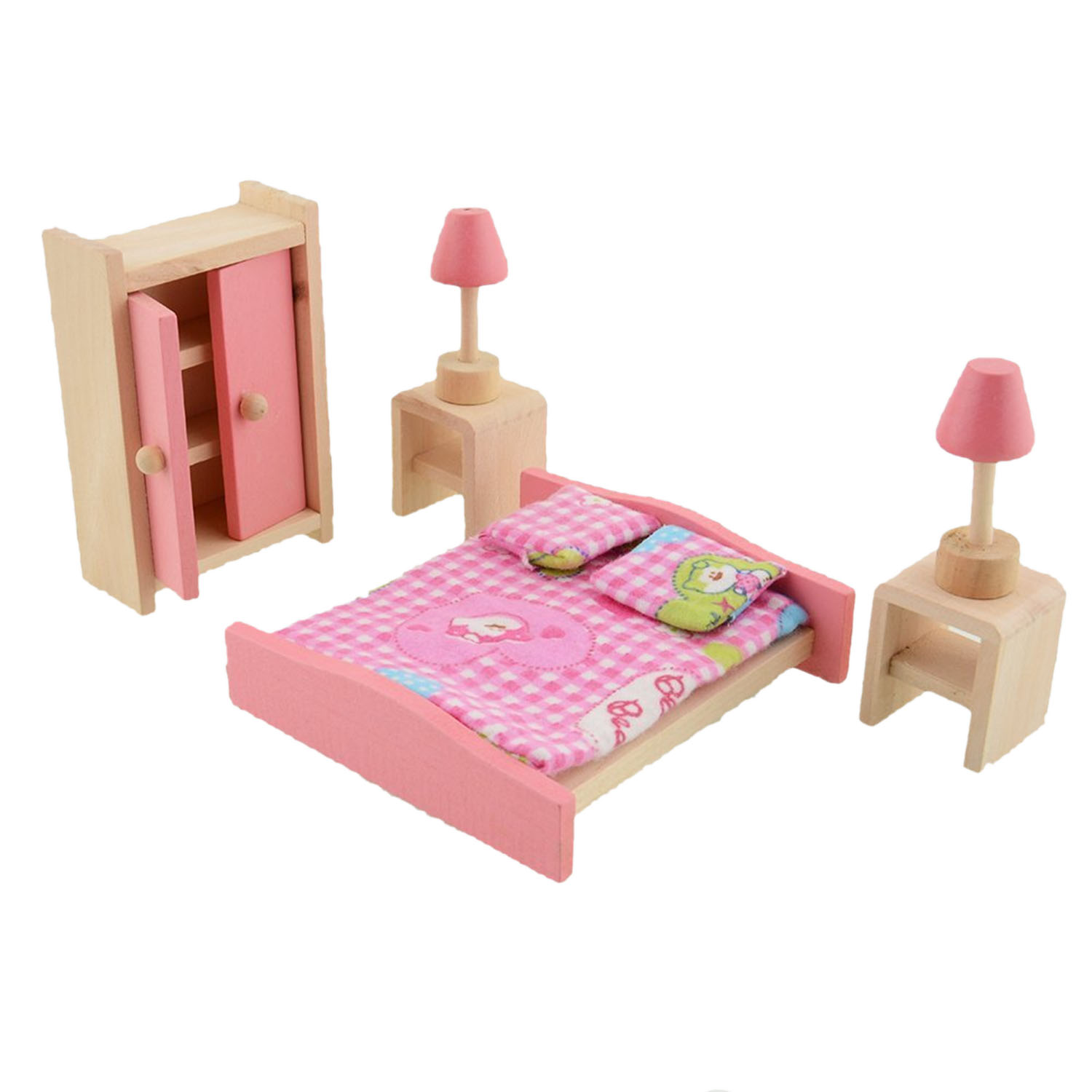 6 Assorted Of Wooden Miniature Dollhouse Furniture Diy Mini Wood Doll House Kitchen Cabinets Bed Bathroom Living Room Doll Toy