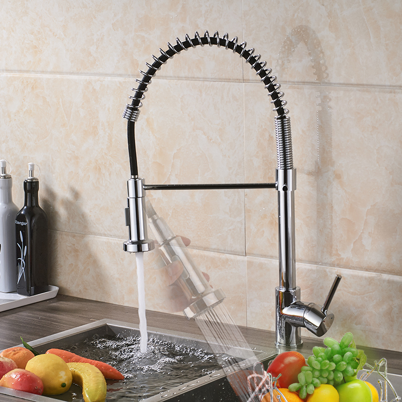 Kitchen Faucet Brass Black Bronze/Chrome/Nickel Brushed High Arch Kitchen Sink Faucet Pull Down Rotation Spray Mixer Tap xoxo kitchen faucet brass brushed nickel high arch kitchen sink faucet pull out 360 degrees rotation spray mixer tap 83014