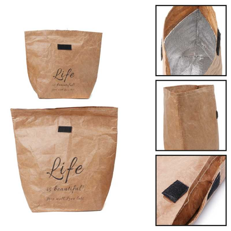 Kraft Paper Snack Lunch Bags Reusable Insulated Thermal Merchandise Grocery Bag Insulation holder