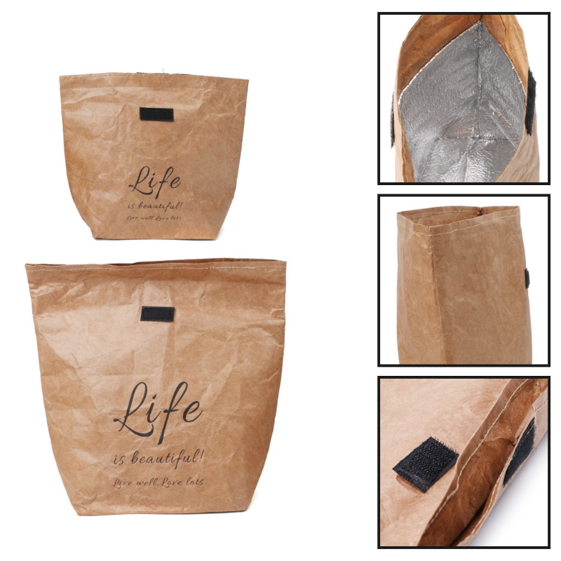 Us 2 45 32 Off Kraft Paper Snack Lunch Bags Reusable Insulated Thermal Merchandise Grocery Bag Insulation Holder In Storage From Home Garden