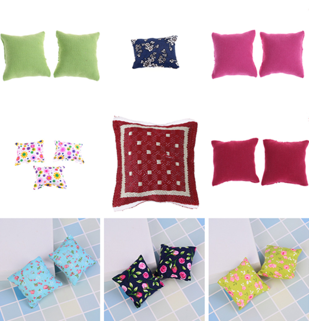 Pillow Cushions For Sofa Couch Bed Furniture Toys Without Sofa Chair Baby Christmas Gifts Shoe 1/12 Dollhouse Miniature 1/2/3Pcs
