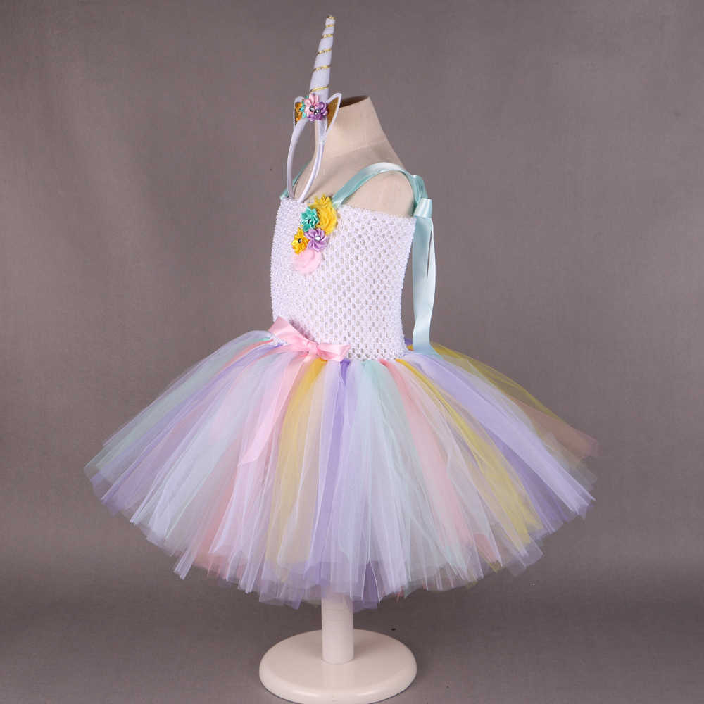 ... Pony Unicorn Tutu Dress Girl Kids Birthday Party Dress Up Rainbow Girls  Christmas Halloween Cosplay Dress ... c2d7f752e601