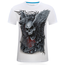 New 2017 Unisex Skull Printed 3D Tee shirt O-Neck Short Sleeves white Summer Fashion Casual Brand T shirt Men's Plus size S-6XL