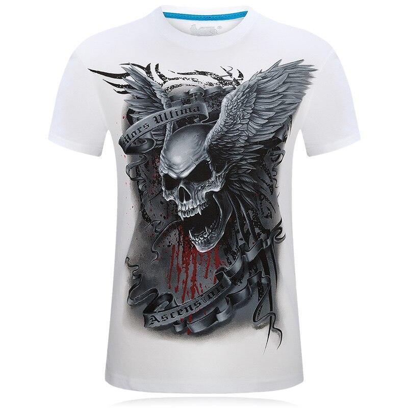 Nuevo 2017 Unisex cráneo impreso 3D camiseta o-cuello manga corta verano blanco moda Casual marca camiseta de los hombres más tamaño S-6XL