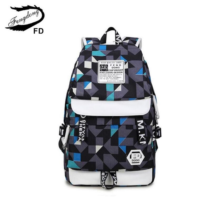 FengDong boys school backpack kids blue book bag waterproof fabric male large travel bag boy back