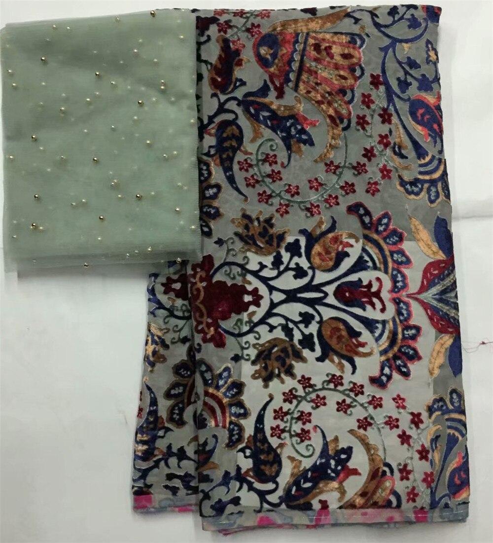 純粋な絹織物ワックス錦織ベルベットレース生地ビーズブライダルレース刺繍チュール生地高品質 7 ヤード/lotL100 23  グループ上の ホーム&ガーデン からの レース の中 1
