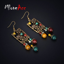 MloveAcc Vintage Flower Pattern Drop Earrings for Women Tibetan Natural Stone Beads Tassel Bohemian Ethnic Dangle Earrings