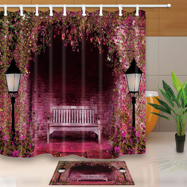 Exceptionnel Warm Tour Park Bench Bathroom Fabric Shower Curtain Sets Waterproof With 12  Hooks Rings 71*